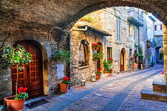 Old street of medieval towns of Italy, Umbria region. Royalty Free Stock Photos