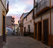 Old street at Merida in dawn Royalty Free Stock Photo