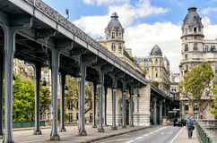 Old street with metro line over it, Paris Royalty Free Stock Images