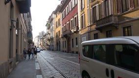On the old street of Milan. Italy. MILAN, ITALY - SEPTEMBER 17, 2017: On the old street of Milan stock video