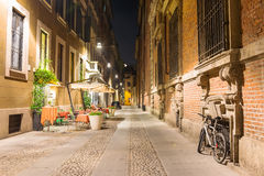 Old street in Milan at night, Italy Royalty Free Stock Photo