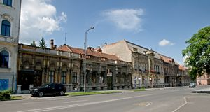 Old street in Miskolc Stock Image