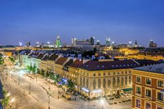 Old street with modern office buildings in the downtown, Warsaw, Stock Photography