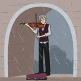 Old street musician playing violin Stock Photography