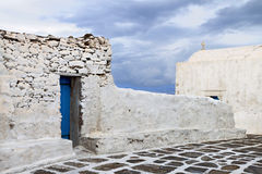 Old street at Mykonos island in Greece Stock Photography