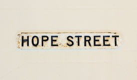 Old street name - hope street Royalty Free Stock Photos