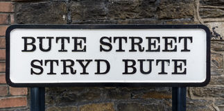 Old Street Name Signs Bute Street Stryd Bute in Cardiff. Wales Capital United Kingdom Stock Images
