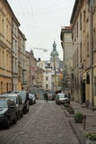 Old street. Old narrow street in center of Lviv, Ukraine Royalty Free Stock Photos