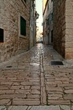 Old street. Old and narrow historical street in Vodice royalty free stock photo