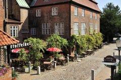 Old street near Saint James church, Lubeck, Germany Royalty Free Stock Photography