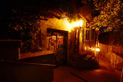 Old Street By Night In Autumn Royalty Free Stock Photo