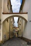 Old street in Olomouc (Olmütz), Czech Republic. Stock Photo