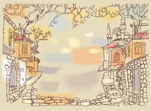 Old street of oriental city.Hand drawn sketchy houses and trees. Royalty Free Stock Photos