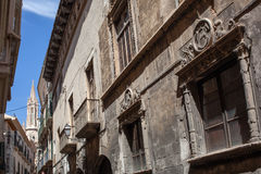 Old street of Palma de Mallorca. In sunny summer day Stock Images