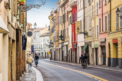 Old street in Parma. Emilia-Romagna, Italy royalty free stock images