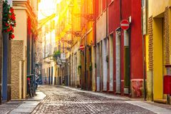 Old street in Parma at sunset. Emilia-Romagna, Italy Stock Images