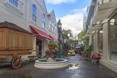 Historical old street in St. Martin`s capital Philipsburg. At old street in Philipsburg, St Martin - December 1, 2016 : Historical old street in St. Martin`s stock image