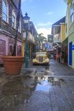 Historical old street in St. Martin`s capital Philipsburg royalty free stock photo