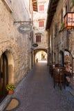 Old street and picturesque houses of Torri del Benaco. Garda Lake Stock Photo