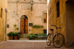 Old street in Pienza, Italy Royalty Free Stock Images