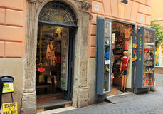 Old street with pinocchio store in Rome, Italy Stock Photography