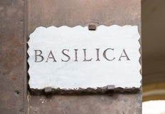 Old street plate  Basilica  in Aventine Hill in Rome Royalty Free Stock Images