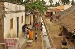 Old street in a popular neighbourhood  island of mozambique classic image. Old street with houses on island of mozambique, Ilha de mocambique, traditional Stock Photography