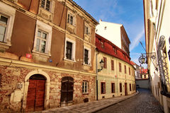 Old.street.prague. Old streets of Prague. cobblestone road Stock Photography