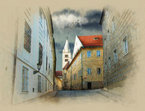 Old street in Prague. Watercolor sketch. Sepia Royalty Free Illustration