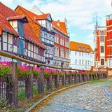 Old street in Quedlinburg stock images