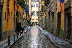 Old street after rain in Florence, Italy Stock Images