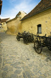 Old street in the Rasnov's Fortress. Narrow street in the Rasnov's Fortress Royalty Free Stock Photos