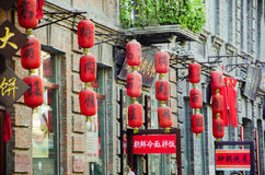 Old street with red lantern Royalty Free Stock Photos