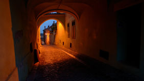 Old street of residential buildings in Sibiu city Royalty Free Stock Images