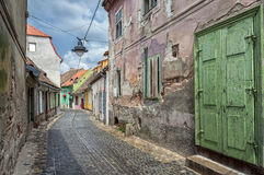 Old street of residential buildings. Royalty Free Stock Photo