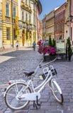 Old street - retro bicycle - Cracow-Poland Royalty Free Stock Photo