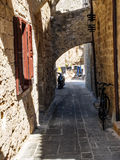 Old street in Rhodes town Royalty Free Stock Photography