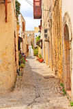 Old street in Rhodes town Royalty Free Stock Photos
