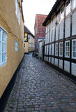 Old Street in Ribe, Denmark. Oldest town in Europe Stock Photography