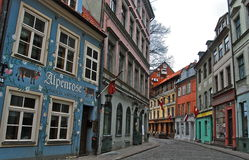 Old street in Riga, Latvia. Stock Photo