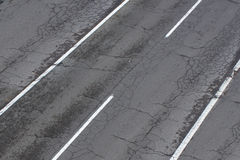 Old street / road, damaged highway, cracked asphalt Stock Photos