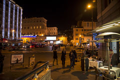 Old street in Rome. Old street of Rome at night, Italy Stock Photo