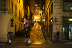 Old street in Rome. Old street of Rome at night, Italy Royalty Free Stock Image