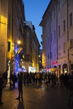 Old street in Rome. Tourist at  the old street of Rome at night, Italy Royalty Free Stock Image