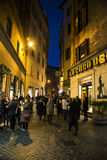 Old street in Rome. Tourist at  the old street of Rome at night, Italy. 28/12/2016 Stock Photography