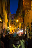 Old street in Rome. Tourist at  the old street of Rome at night, Italy. 28/12/2016 Royalty Free Stock Photos