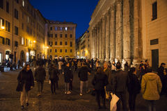 Old street in Rome. Tourist at  the old street of Rome at night, Italy. 28/12/2016 Stock Images