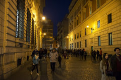 Old street in Rome. Tourist at  the old street of Rome at night, Italy. 28/12/2016 Stock Image