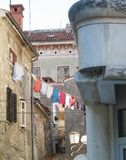 Ancient buildings on the old street of Rovinj, Croatia, Europe. stock photo