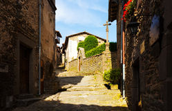 Old street in Rupit. Catalonia Royalty Free Stock Photos
